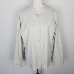 Eileen Fisher Button Down Jacket Blazer Beige